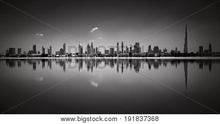 Amazing Panorama Reflection Of Jumeirah Beach, Dubai, United Arab Emirates