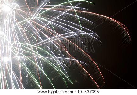 Colorful fireworks on black background, Fireworks explode, light show, close-up.