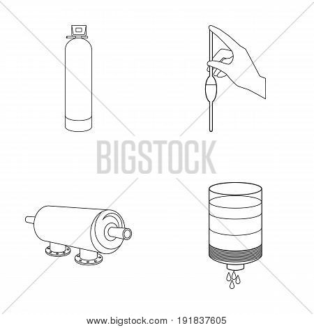 System, balloon, hand, trial .Water filtration system set collection icons in outline style vector symbol stock illustration .