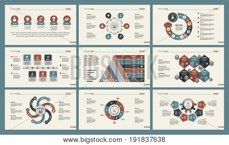 Infographic design set can be used for workflow layout, diagram, annual report, presentation, web design. Business and finance concept with process, percentage, timing and doughnut charts.