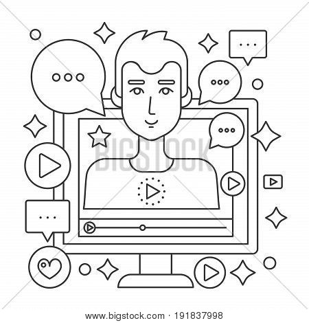 Video blogger thin line web concept. Computer screen with male man blogger. Personal blogging channel broadcasting outline stroke vector illustration