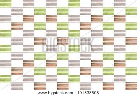 Collage of multi-colored wooden slats on a white background
