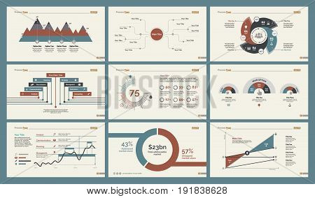 Infographic design set can be used for workflow layout, diagram, annual report, presentation, web design. Business and production concept with process, percentage, line charts and mind map.