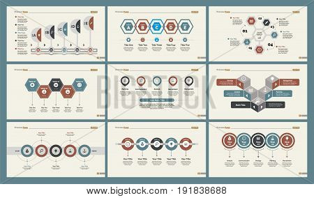 Infographic design set can be used for workflow layout, diagram, annual report, presentation, web design. Business and production concept with process and timing charts.