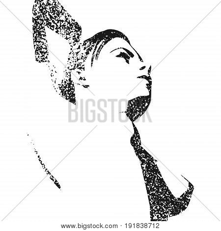 Naked young woman. Vector illustration. Female torso sketch. Grunge concrete texture