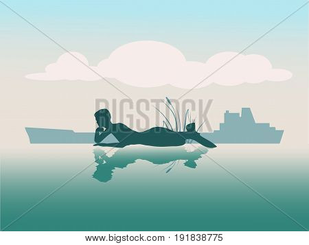 Vector illustrations of silhouette of lying beautiful mermaid. Short hair. Woman reflected in the ocean water. A figure in a waiting pose. Sunset at sea