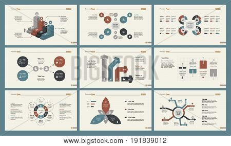 Infographic design set can be used for workflow layout, diagram, annual report, presentation, web design. Business and research concept with process, percentage, bar charts and mind maps.