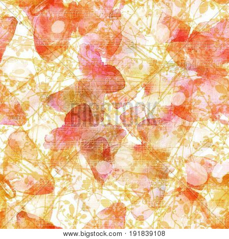 A seamless pattern with abstract freehand watercolour butterflies on golden branches, with faded sheet music