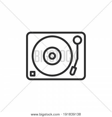 Turntable vinyl disc player line icon outline vector sign linear style pictogram isolated on white. DJ symbol logo illustration. Editable stroke. Pixel perfect