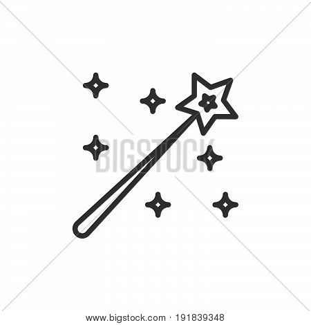 Magic wand line icon outline vector sign linear style pictogram isolated on white. Symbol logo illustration. Editable stroke. Pixel perfect
