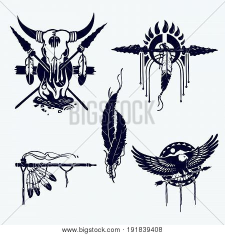 native american indians illustration set (bow and arrow, tomahawk, axe, chief headdress, peace pipe, dream catcher, skull); vector illustration
