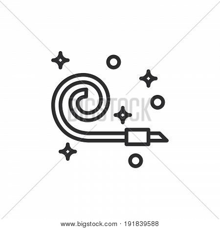 Party horn blower line icon outline vector sign linear style pictogram isolated on white. Symbol logo illustration. Editable stroke. Pixel perfect