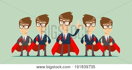 Super business team - Illustration of super leader and super businessmen in red capes. Stock flat vector .