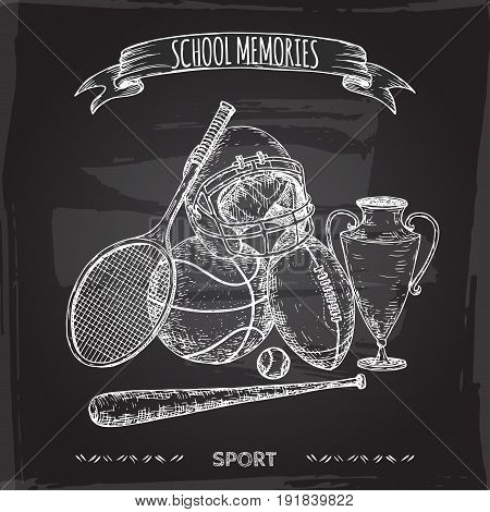 Antique sport gear hand drawn sketch placed on blackboard background. School memories collection. Great for school, education, sport, retro design.