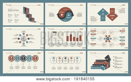 Infographic design set can be used for workflow layout, diagram, annual report, presentation, web design. Business and training concept with process, percentage, line and bar charts.