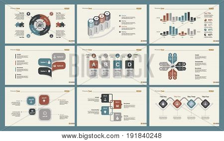 Infographic design set can be used for workflow layout, diagram, annual report, presentation, web design. Business and training concept with process, percentage and timing charts.