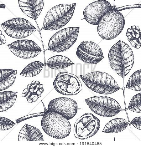 Seamless pattern with hand drawn trees sketch. Spring background with decorative walnut illustration. Vector botanical elements.