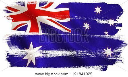Australia flag waving full frame background texture. 3D illustration