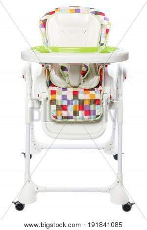 Baby high chair with rolling function isolated on white background