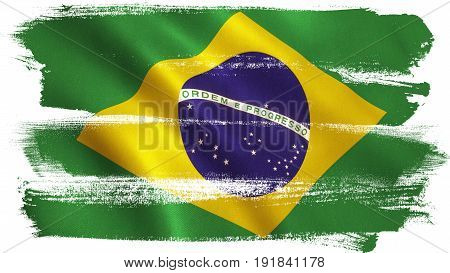Brazil flag background with fabric texture. 3D illustration