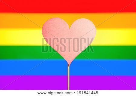 Heart cut from cardboard paper on wooden stick against gay pride and LGBT rainbow flag. Sexual minority, homosexuality and equal rights concept. Handmade craft love symbol on colorful background.