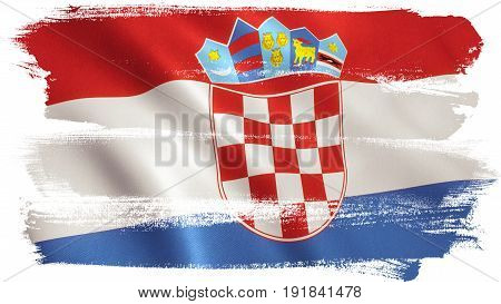 Croatian flag background with fabric texture. 3D illustration.