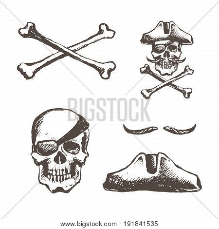 The skull of a pirate is one-eyed. A set of elements for design a hat is triangular, a mustache. Bones cross the cross. Vector sketch illustration.