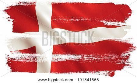 Danish flag waving full frame background texture.