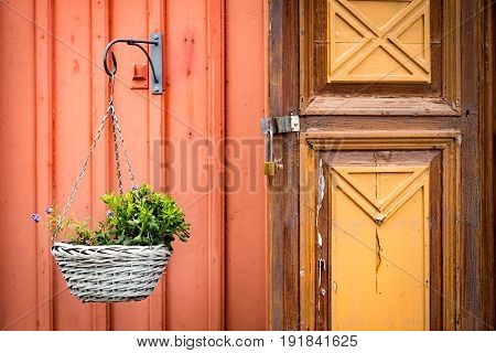 Old door in Sweden. Swedish traditional village. Scandinavia Europe.