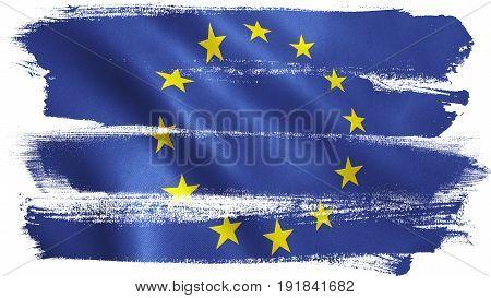 EU flag waving. European Union full frame background texture. 3D illustration