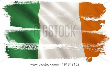 Ireland flag background with fabric texture. 3D illustration.