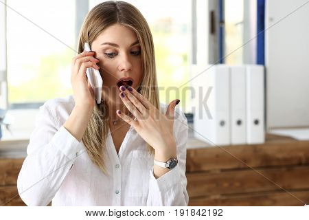 Beautiful Blonde Thoughtful Businesswoman Talk Cellphone