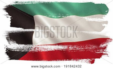 Kuwait flag background with fabric texture. 3D illustration