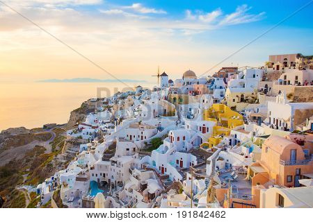 Colorful sunset in Santorini island Greece with beautiful view