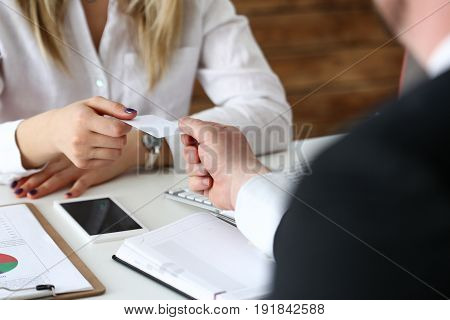 Female Hand In Suit Give Blank Calling Card