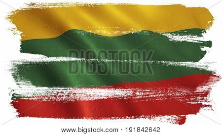 Lithuania flag background with fabric texture. 3D illustration