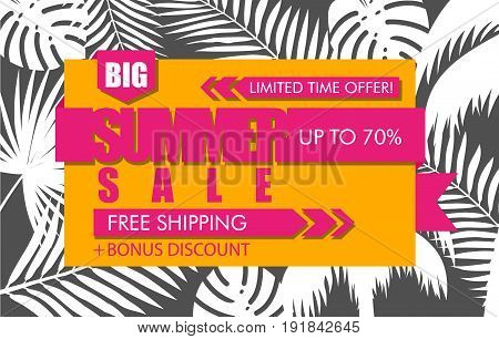 Summer sale banner with white tropical exotic palm leaves and plant on orange background. Vector bright floral design pink text limited time offer free shipping bonus discount up to 70 percent.