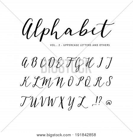 Hand drawn vector alphabet. Script font. Isolated letters written with marker and ink, calligraphy, lettering.