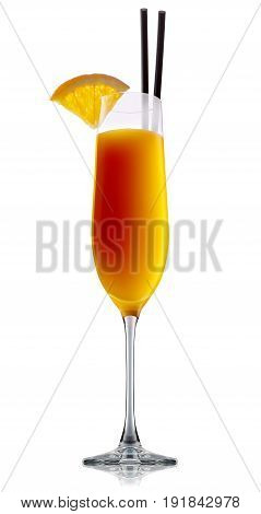 fresh fruit alcohol cocktail or mocktail mimosa in champagne glass with orange beverage isolated on white background