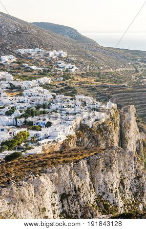 The nice town of Chora on Folegandros island Greece at sunset.
