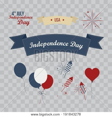 A set of design elements for Independence Day. 4th of July Objects Element. Vector illustration isolated on transparent checkered