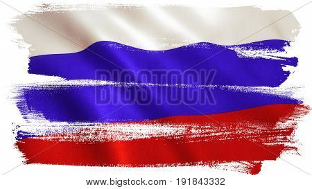 Russian flag background with fabric texture. 3D illustration