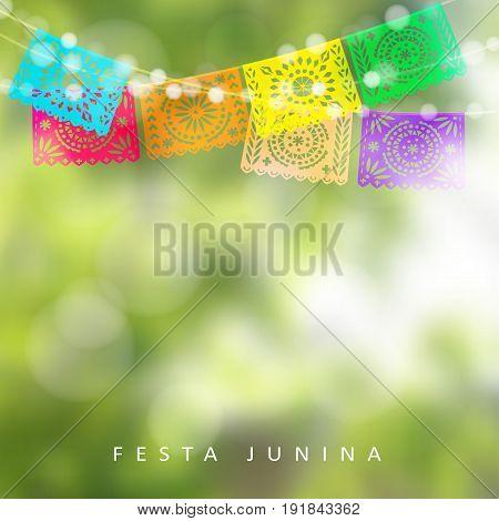 Brazilian Festa Junina or Midsummer greeting card, invitation. Garden party decoration, string of lights, paper flags. Modern blurred background, vector illustration.