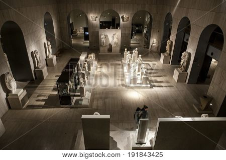 Madrid Spain - February 24 2017: Visitors at Roman Empire area National Archeological Museum of Madrid