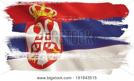 Serbia flag background with fabric texture. 3D illustration