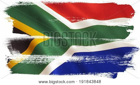 South Africa flag background with fabric texture. 3D illustration.