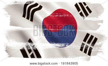 South Korea flag background with fabric texture. 3D illustration.