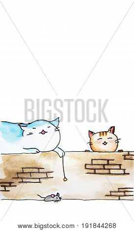 Hand drawn watercolor painting of Cats sitting on wall and a mouse- place for text