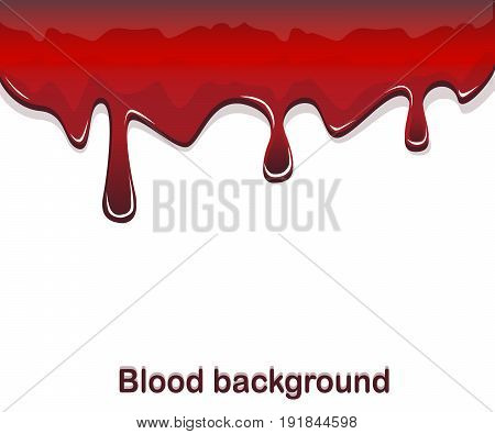 Red blood flowing with drops on a white background