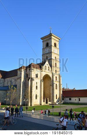 ALBA IULIA ROMANIA - 04.02.2017: The Fortress and Roman Catholic church